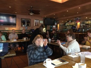 Photograph of Voyagers Toastmasters meeting at the Cafe Coyote Cantina